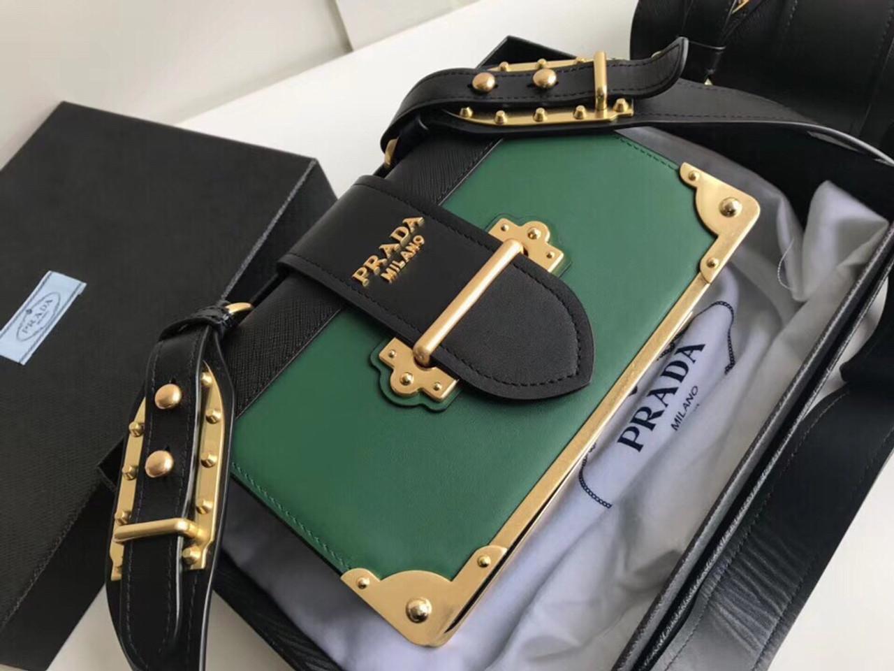 31f06c5fba8a Prada 2019 Cahier leather shoulder bag Green - Bella Vita Moda