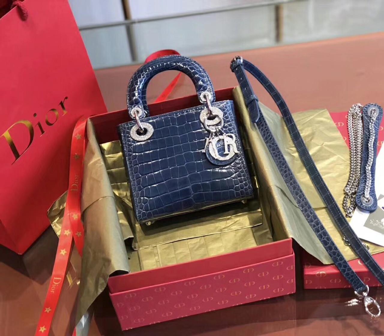 f52d6b8106 Christian Dior Blue Alligator Mini Lady Dior Tote with gemstone hardware