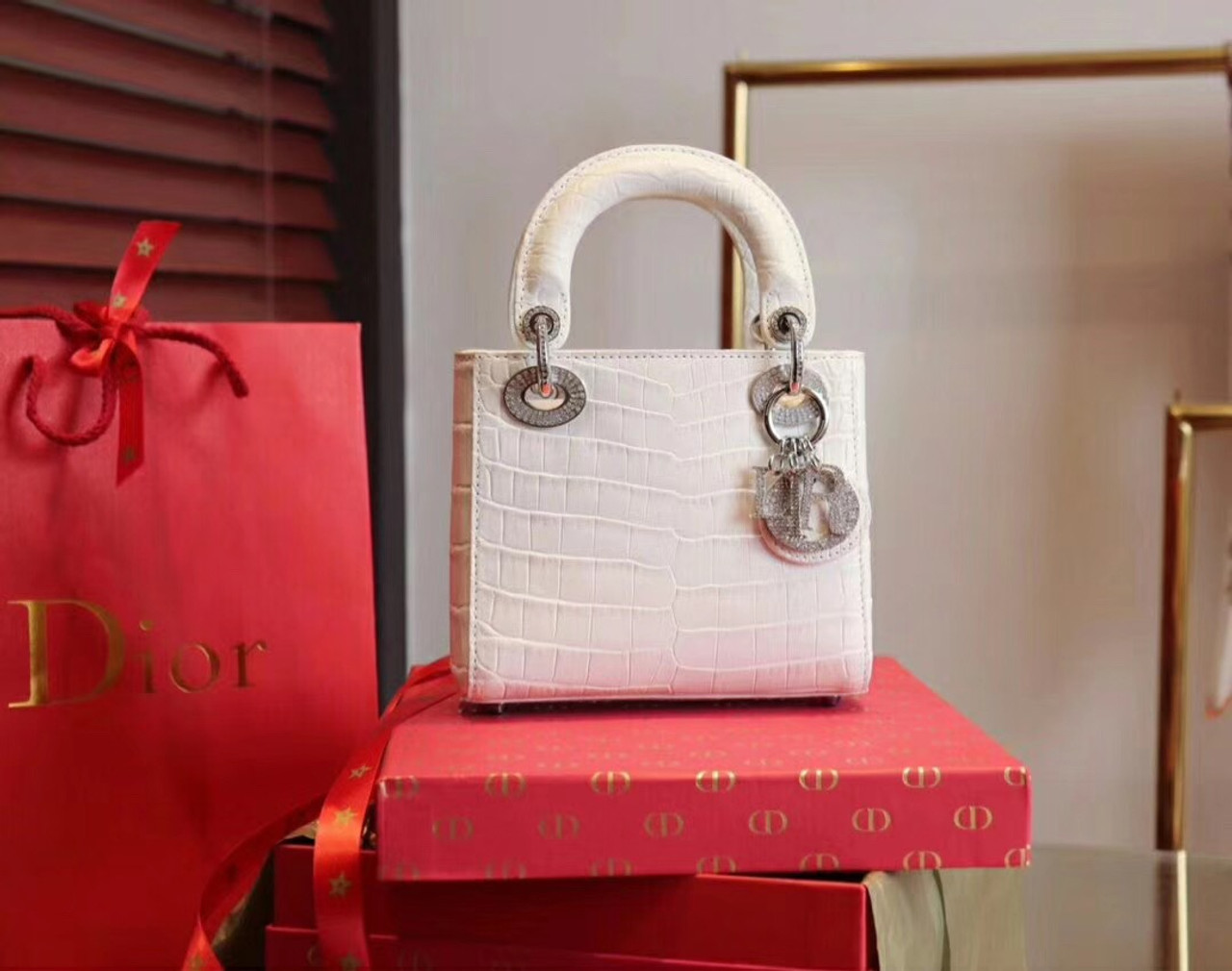 c42fe33c76 Christian Dior White Alligator Mini Lady Dior Tote with gemstone hardware