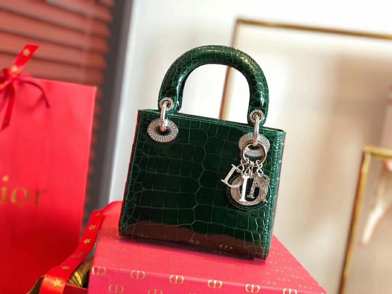adbc41dff0 Christian Dior Emeraude Alligator Mini Lady Dior Tote with gemstone hardware