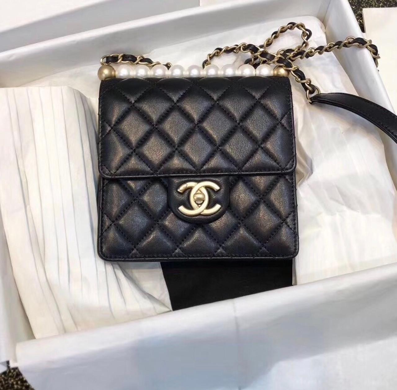e04cf2c0f7ff5e Chanel Limited Edition Pearl Flap Bag 2019 Black - Bella Vita Moda