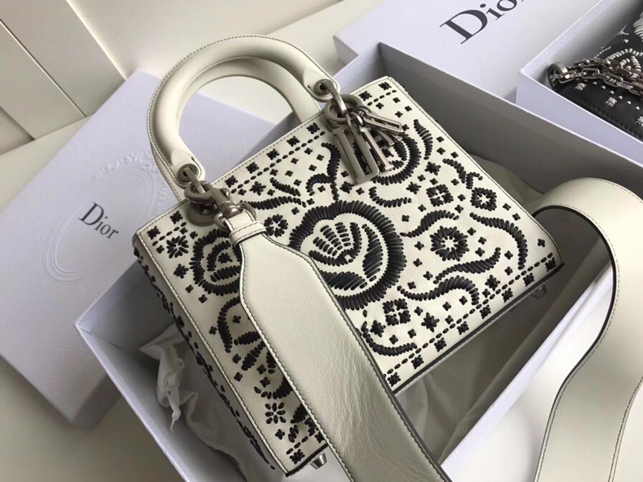56008cebe4 Christian Dior MINI LADY DIOR EMBROIDERED BAG White - Bella Vita Moda