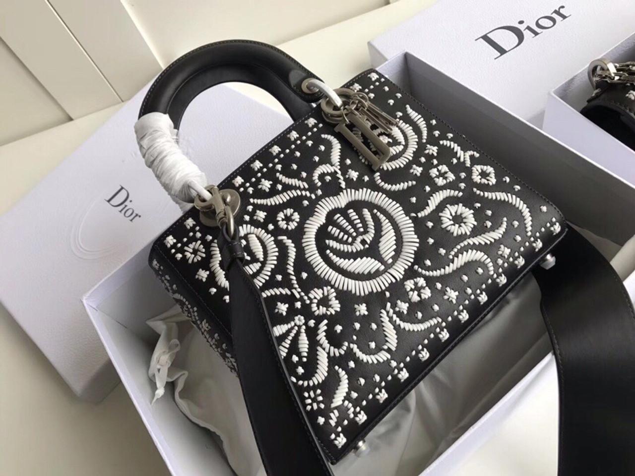 0bde7c30b6 Christian Dior MINI LADY DIOR EMBROIDERED BAG Black - Bella Vita Moda