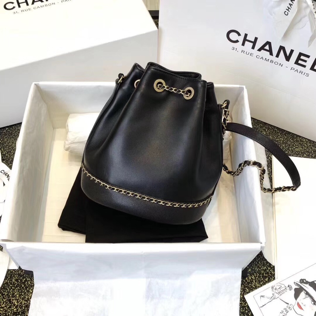b486549c2980 Chanel Drawstring Bag AS373 Black - Bella Vita Moda
