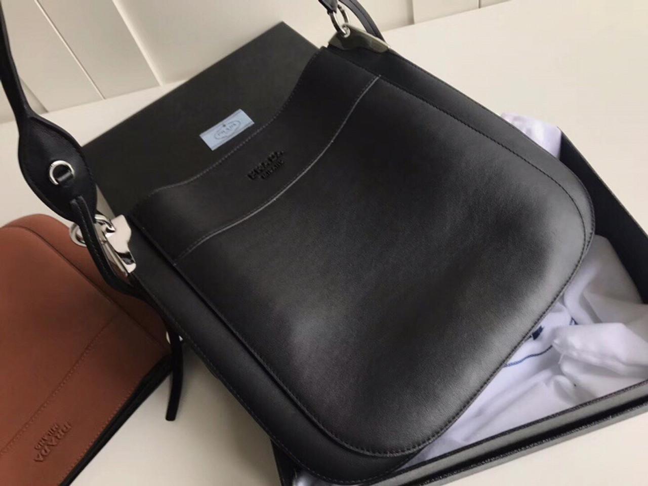138b2e0a5794 Prada Margit leather shoulder bag Black - Bella Vita Moda