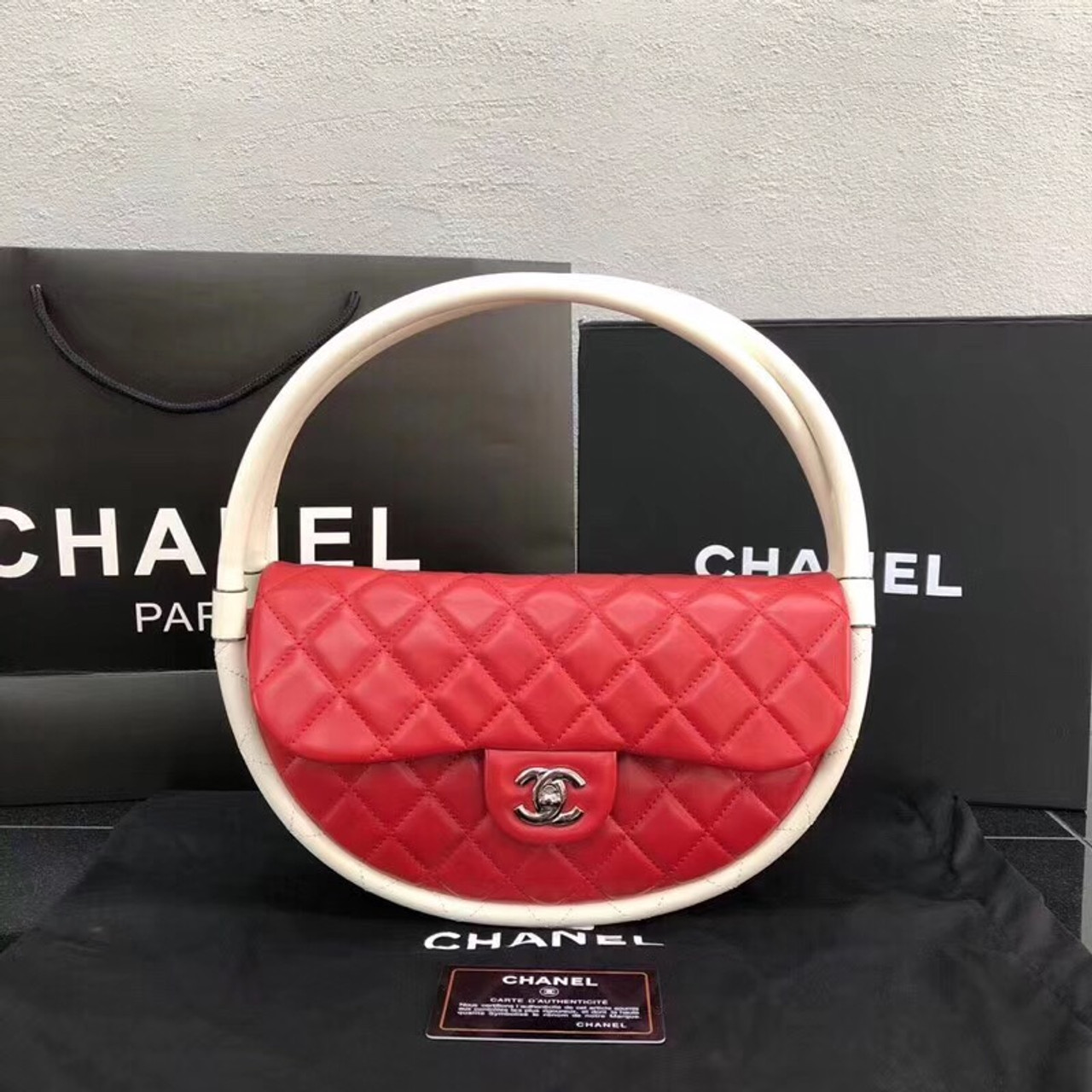 64ac134b3a59 Chanel Limited Edition Art Piece Hula Hoop Runway Bag , 2013 Red & White