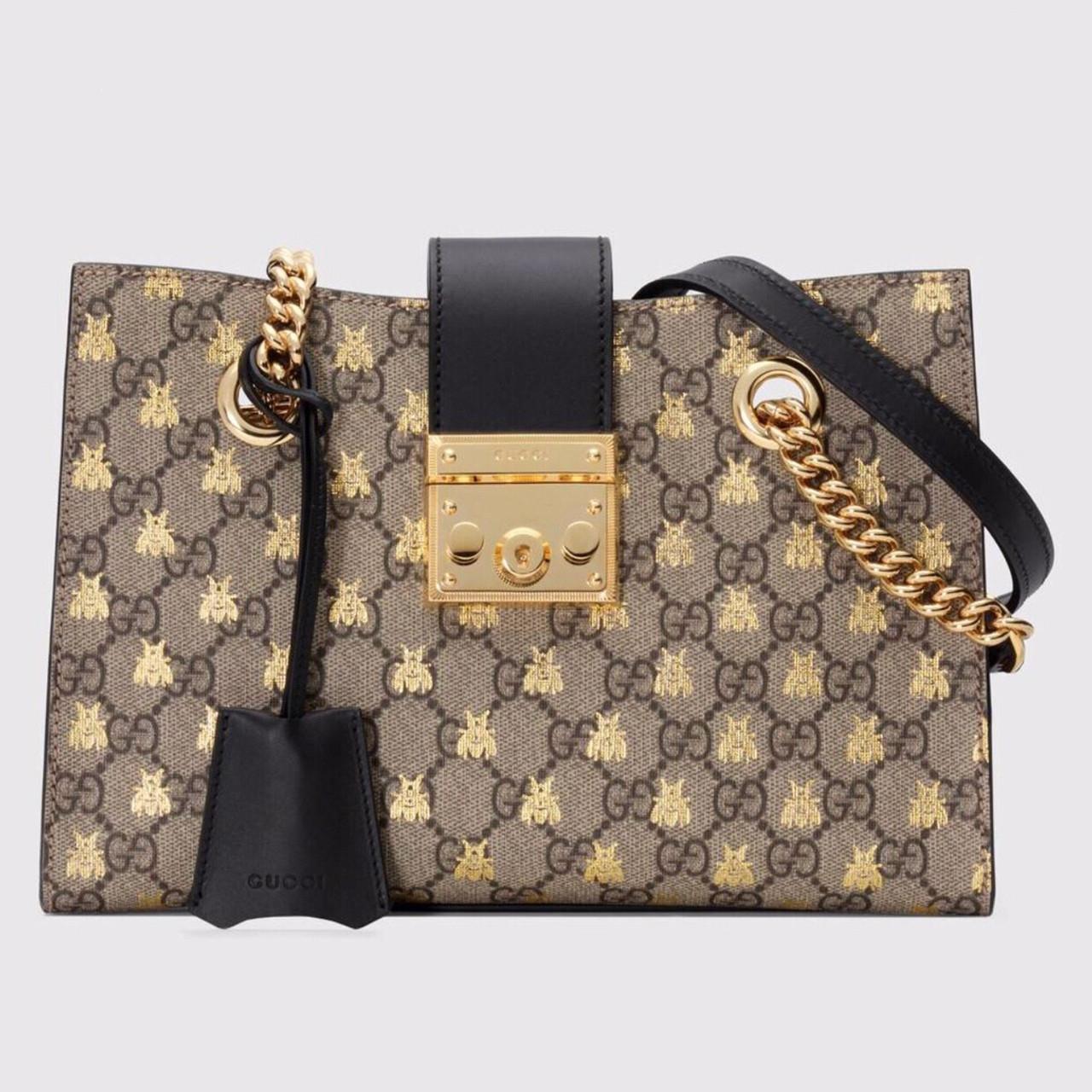 fc423b699 Gucci Padlock small GG bees shoulder bag - Bella Vita Moda