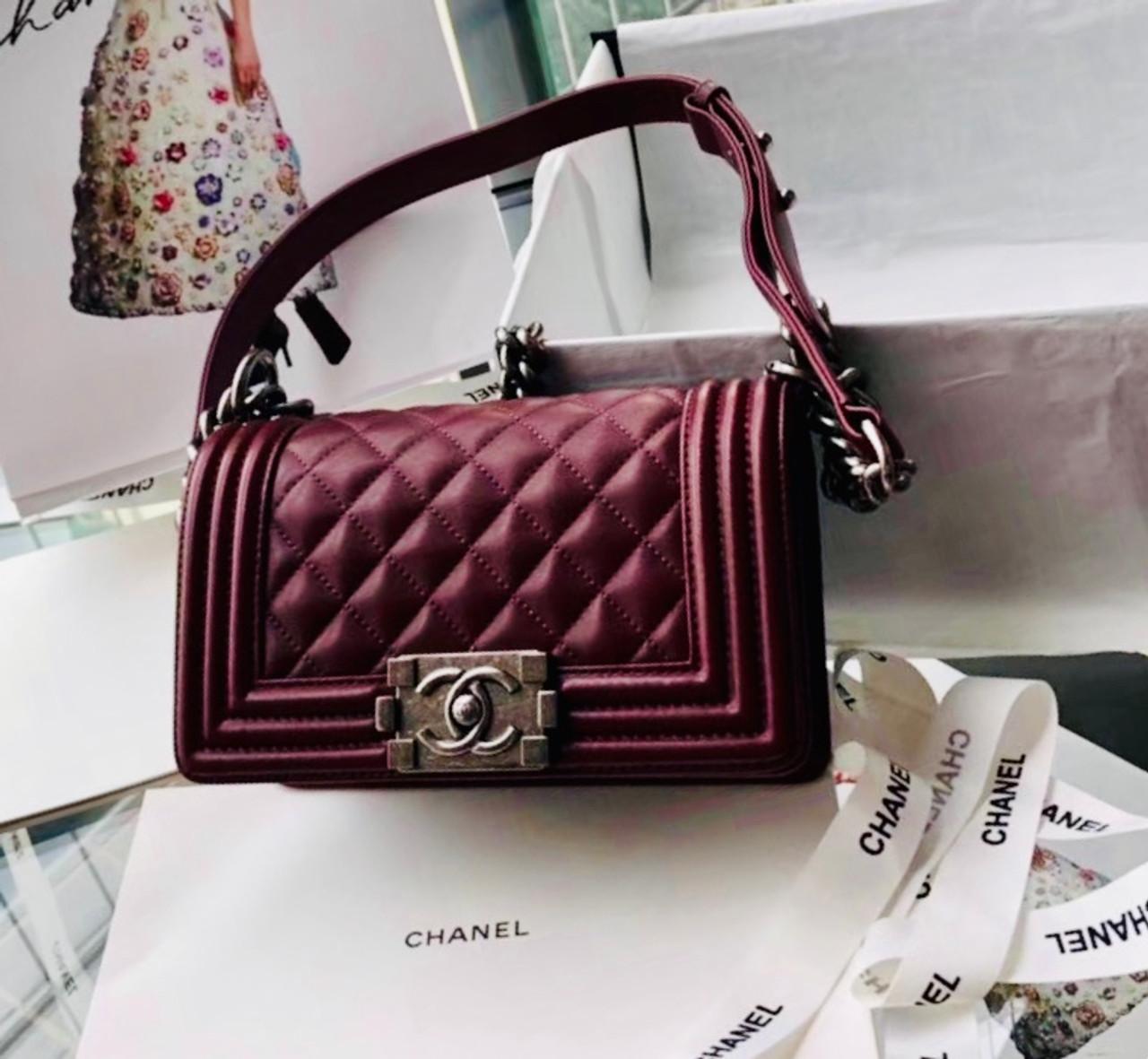 3c6af5b00 Chanel Small BOY CHANEL Handbag Bordeaux - Bella Vita Moda