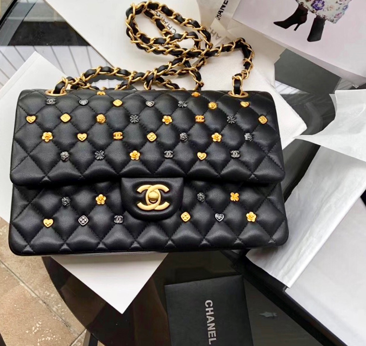 aac952cc33d4 Chanel Black Leather Medium Classic 18K Gold Charms Double Flap Bag ...