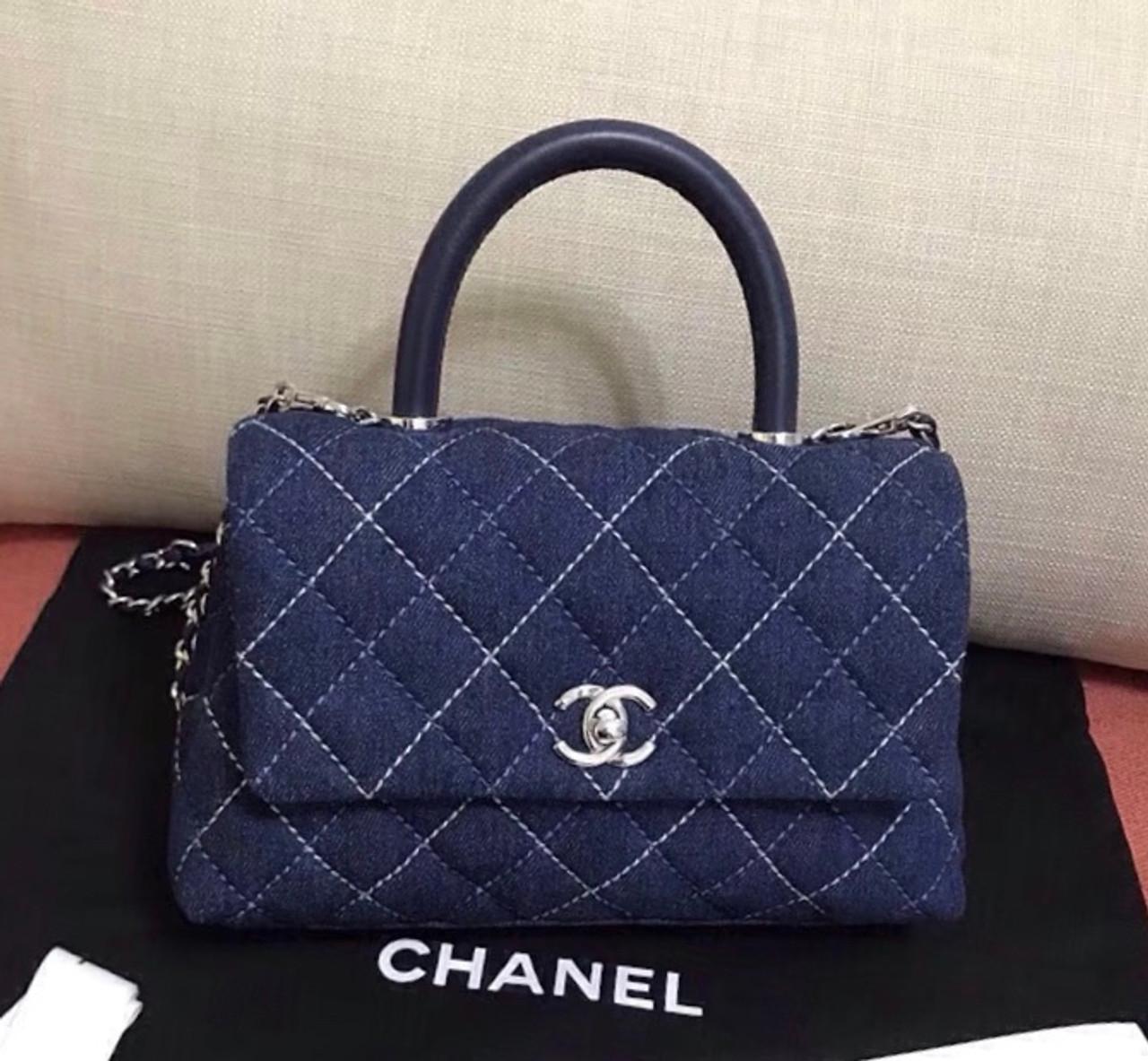 088ca1e69e24 Chanel Small Denim Flap Bag With Top Handle - Bella Vita Moda