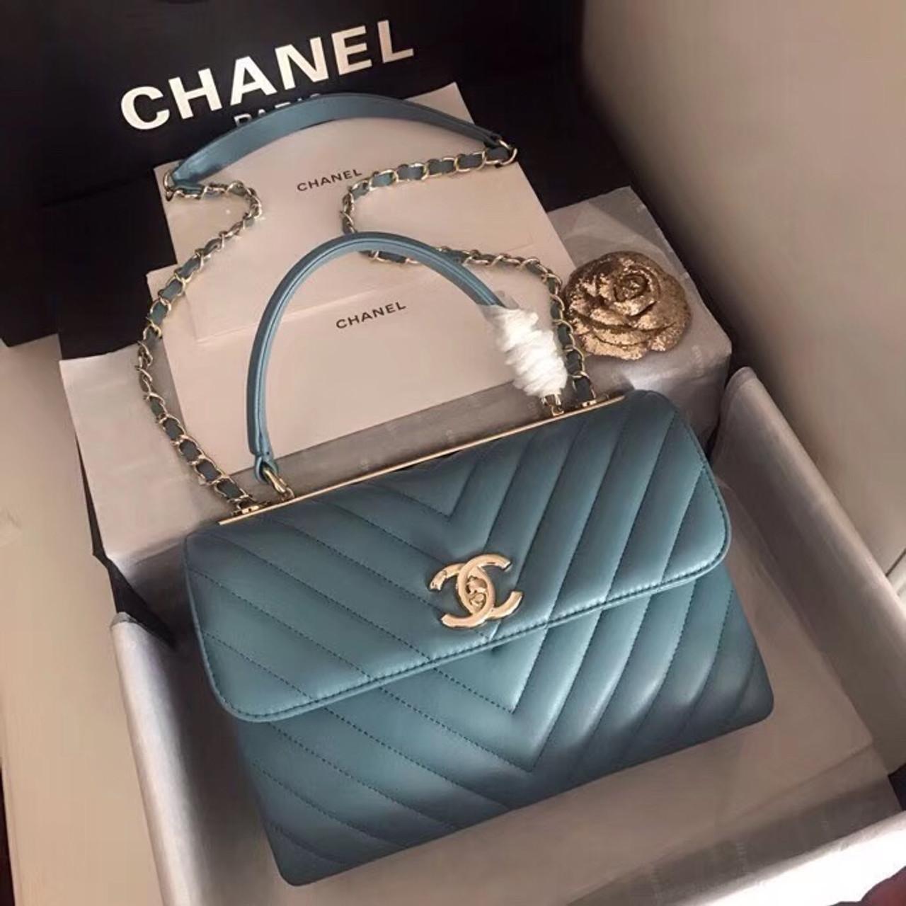 896c766ba797 Chanel Small Flap Bag With Top Handle 2019 A69923 Blue - Bella Vita Moda