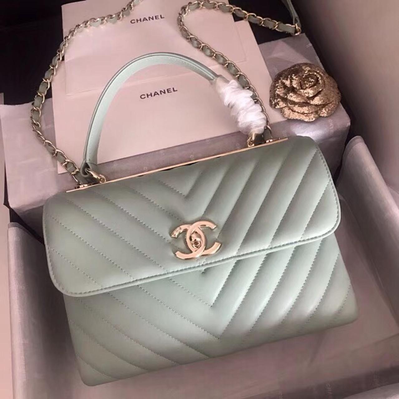 b22e50a0e91d Chanel Small Flap Bag With Top Handle 2019 A69923 Mint - Bella Vita Moda