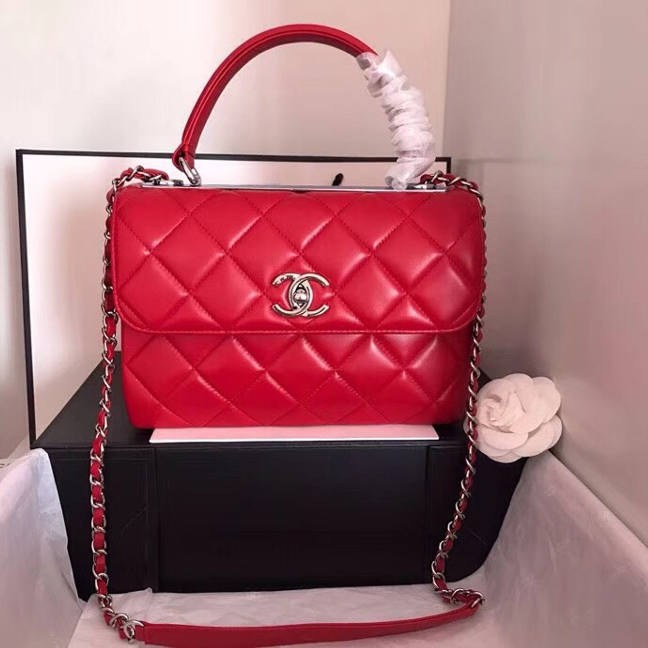 d477f1d3358b Chanel Small Trendy CC Top Handle Bag Quilted Lambskin Red - Bella ...