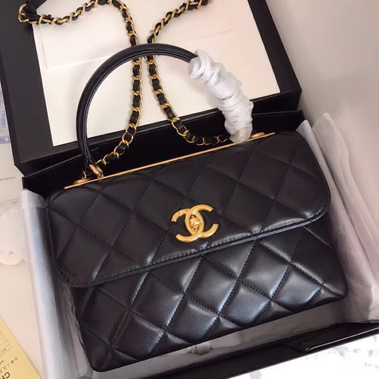 0233d2b9a629 Chanel Small Trendy CC Top Handle Bag Quilted Lambskin Black - Bella ...