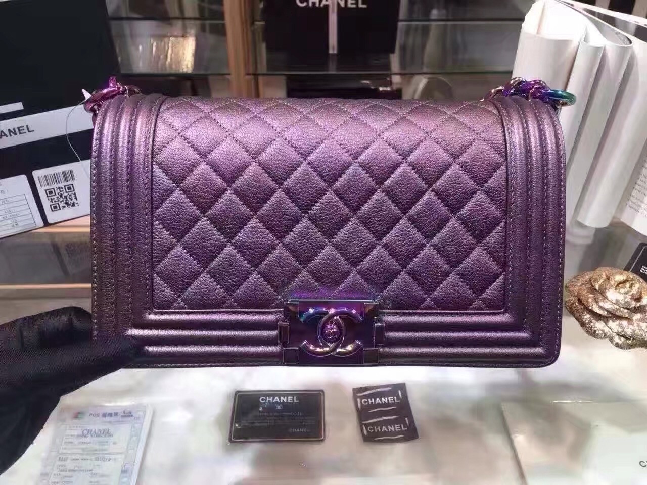 6f14c5e4c1ca CHANEL Medium Purple Iridescent Rainbow Boy Flap Bag Cruise 2016 Seoul  Collection A67085