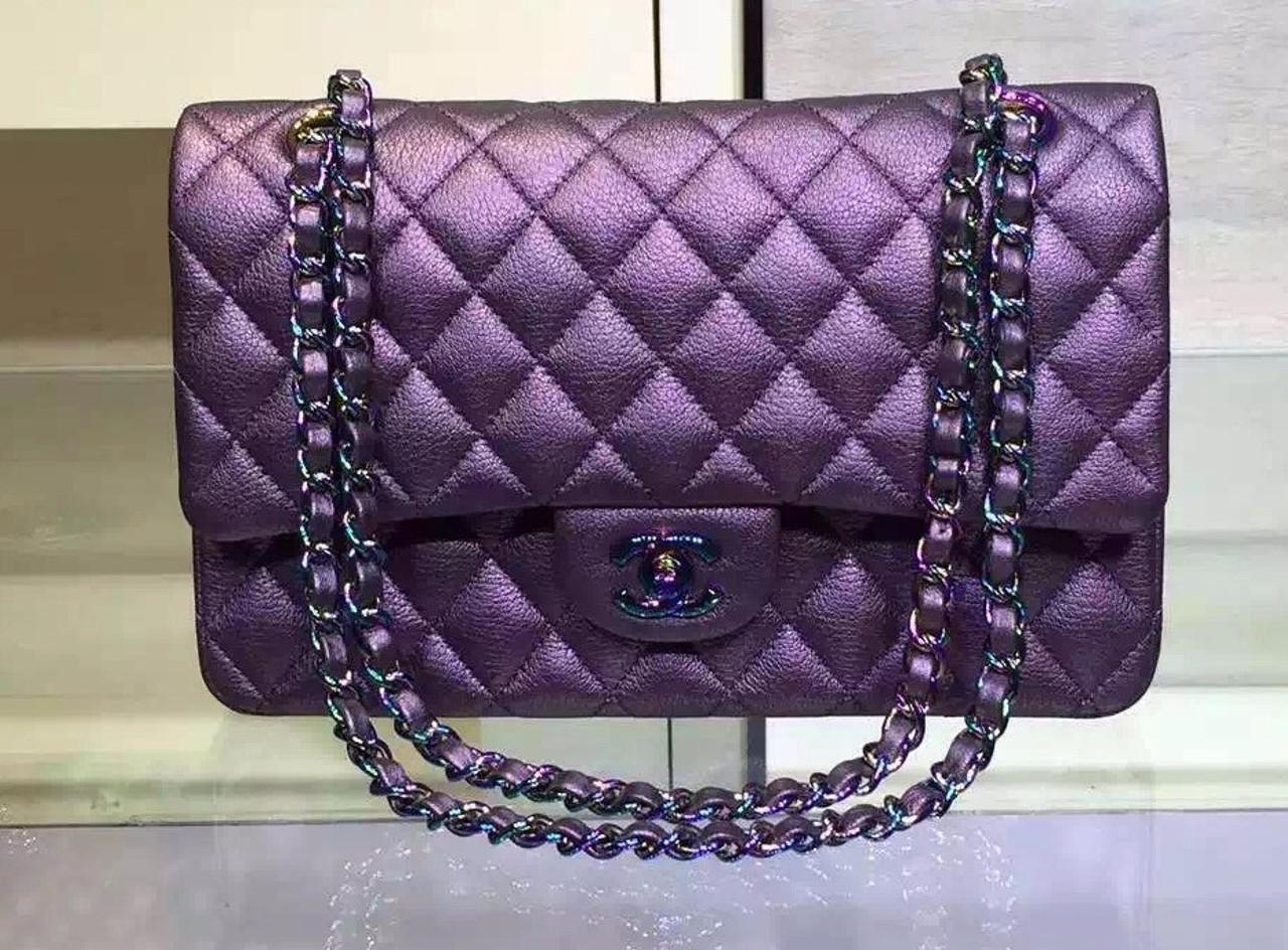 f1c4c1f0117f CHANEL Iridescent Purple Classic Flap Bag Cruise 2016