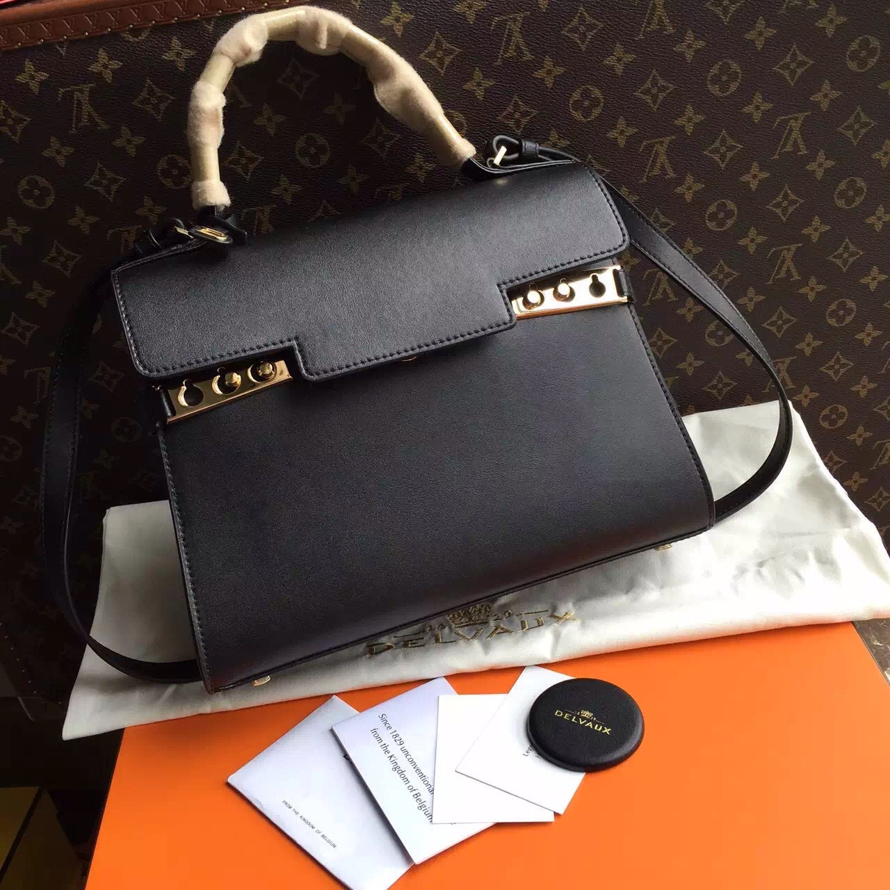 1e9af3a8c [Final Sale] Delvaux black supple grained calfskin Tempête MM satchel.