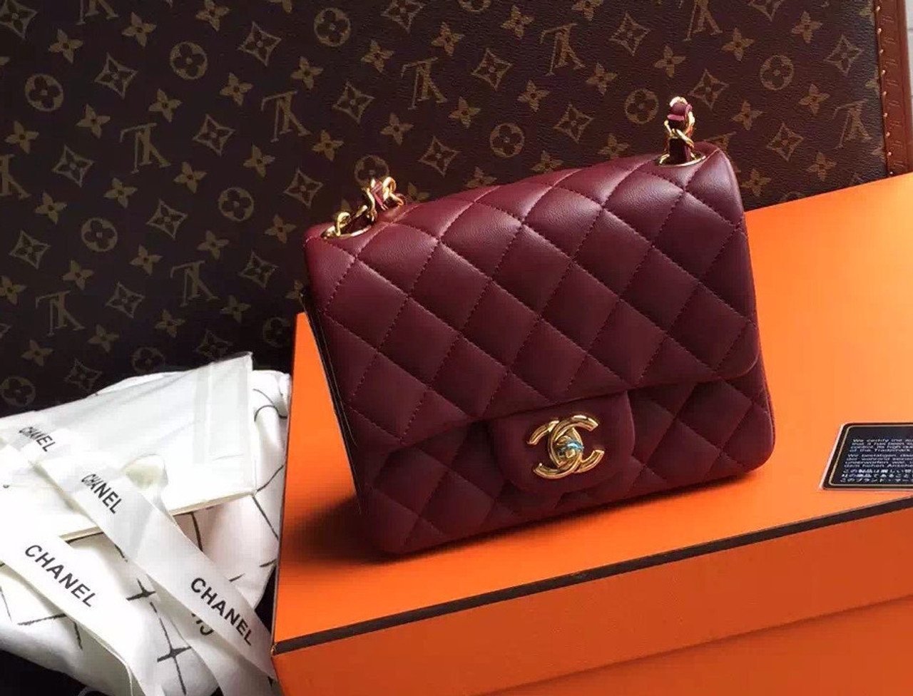 482074718f75 CHANEL Burgundy Lamb Skin Mini Square Classic Flap Chain Shoulder Bag