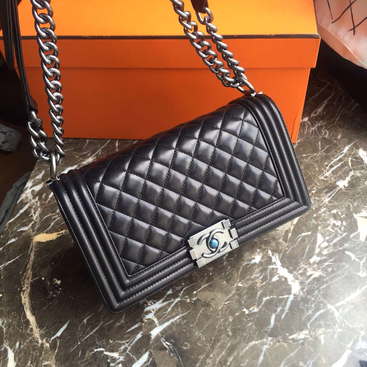 CHANEL Quilted Boy Flap Bag Lambskin with Silver Hardware 6c9e770de8c53