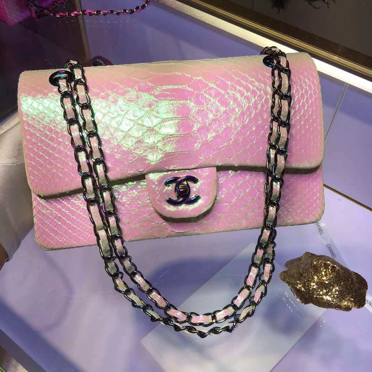 9670acf7224 CHANEL Classic Flap Bag Pink South Africa Python Rare Piece