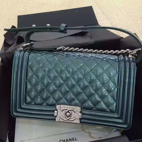 CHANEL Emerald Quilted Patent Leather Medium LE BOY Bag with Silver HW