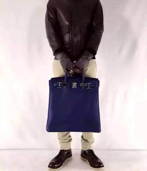 3baccb9f91c Hermes Bleu Saphir Haut A Courroies Bag Togo 40cm Palladium Hardware