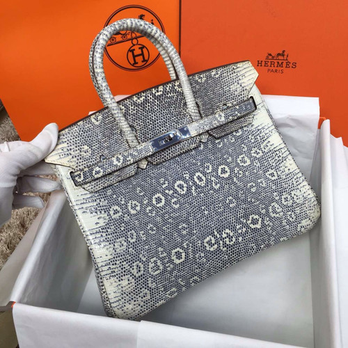 Hermes Lizard Birkin Bag 35cm Palladium Hardware