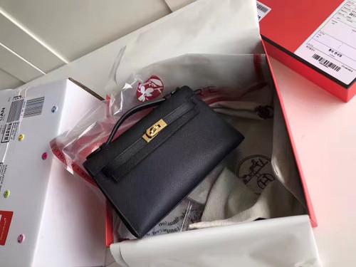 Hermes Black Epsom Leather Mini Kelly Pochette with Golden Hardware