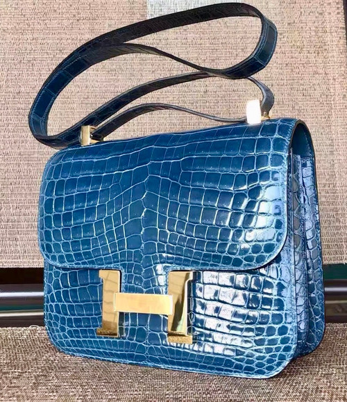 Hermes 1P Duck Blue Constance 24 Niloticus Crocodile with Gold Hardware