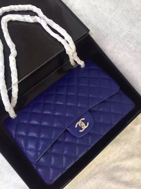 Chanel Reissue 2.55 Flap Bag size 227 in Blue Caviar Leather