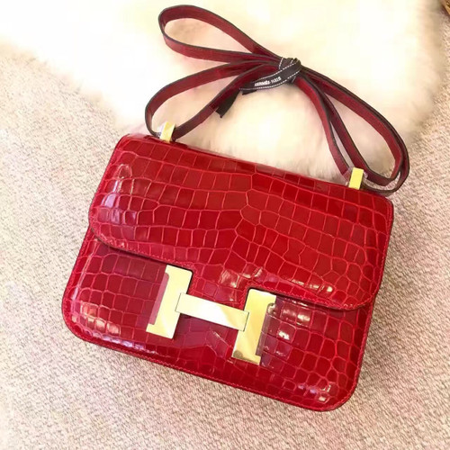 Hermes Red Constance 23 Crocodile Niloticus