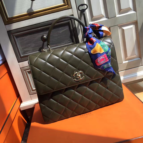 Chanel Flap Bag With Top Handle Green