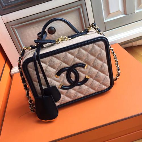 CHANEL CC FILIGREE LARGE VANITY CASE BAG Medium Black/Pink