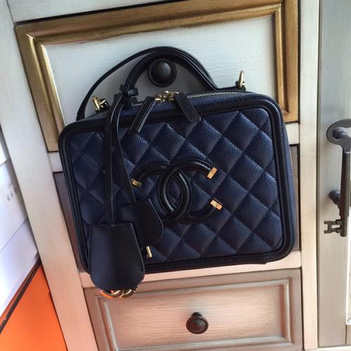 cf655743af88 CHANEL CC FILIGREE VANITY CASE BAG Medium Black/Blue - Bella Vita Moda