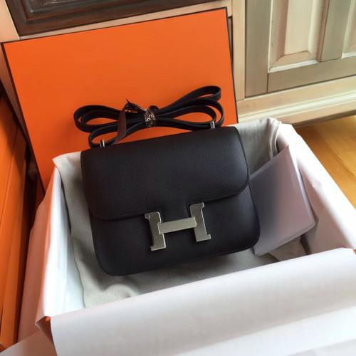 Hermes Black Constance Epsom leather 18cm Palladium Hardware