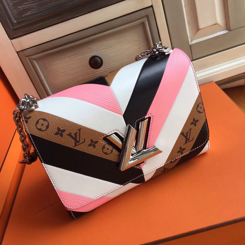 Louis Vuitton  White/Pink/Black and monogram Reverse Twist Bag  Limited Edition
