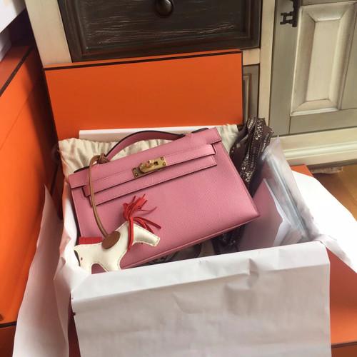 Hermès P1 Sakura Pink Mini Kelly Pochette Epsom leather Gold hardware