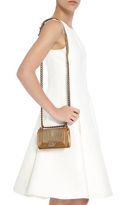 f944858fdbb9 Chanel Metallic Gold Stingray Small Boy Bag - Bella Vita Moda