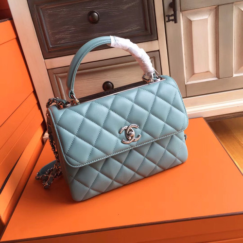 Chanel FLAP BAG WITH TOP HANDLE LAMBSKIN GREEN