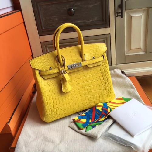 Hermes Soleil Yellow Birkin Bag 25cm KK Niloticus Crocodile Leather Palladium Hardware