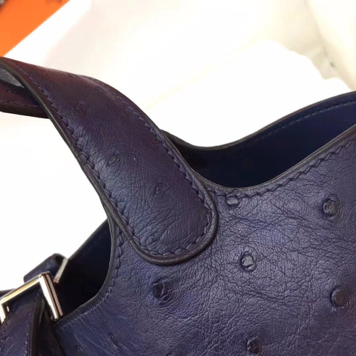 0e32d12df57 Hermes Navy Picotin Lock 18 Ostrich Leather Bag - Bella Vita Moda