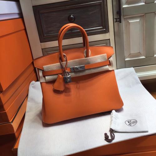 Hermes Orange  Birkin 25cm Swift Palladium Hardware