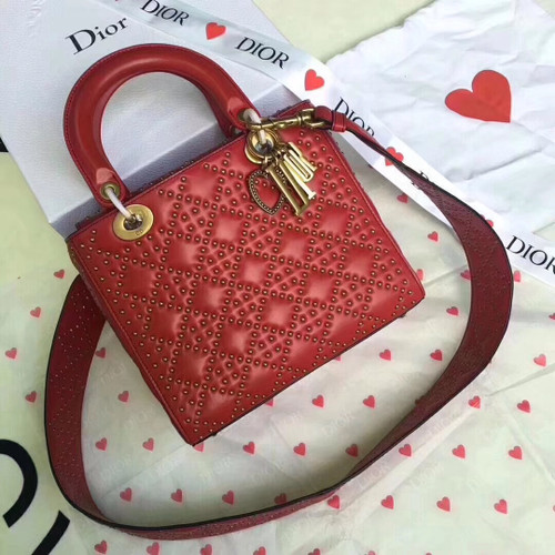 Christian Dior SUPPLE LADY DIOR BAG IN STUDDED RED LAMBSKIN LIMITED EDITION VALENTINE'S DAY 2018