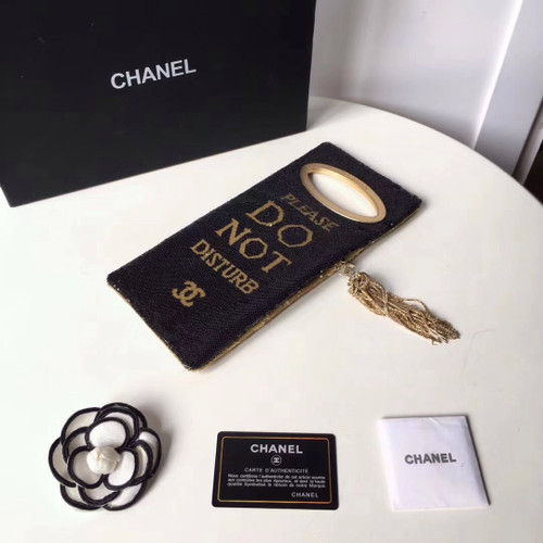 89e227121a97 Chanel Please Do Not Disturb Clutch Bag Black  Gold - Bella Vita Moda