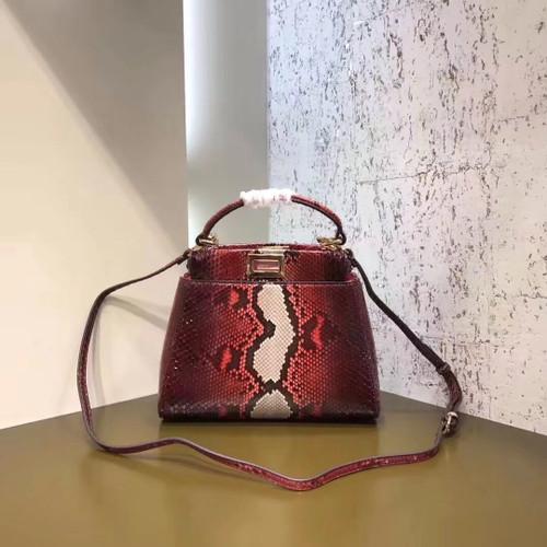 Fendi MINI PEEKABOO handbag in hand-painted Red python