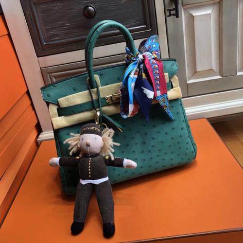 Hermes 7F Bleu Paon Birkin Bag 25cm KK Ostrich Leather Gold Hardware