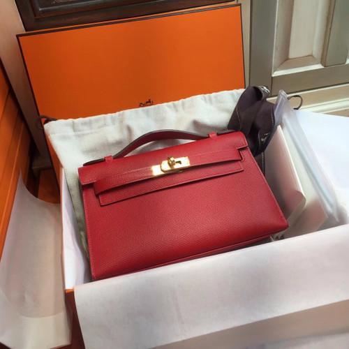 Hermès Q5 Rouge Casaque Mini Kelly Pochette Epsom leather Gold hardware