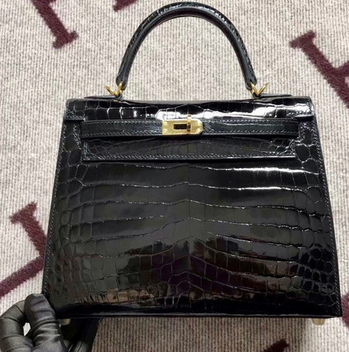 Hermes SHINY BLACK NILOTICUS CROCODILE KELLY 25 WITH GOLD HARDWARE