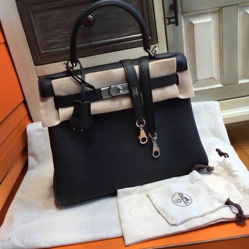 Hermès Black Kelly 32 Epsom Palladium Hardware