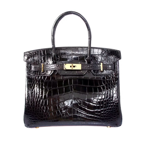 Hermes Black Birkin 30 in Porosus  Crocodile with Gold hardware